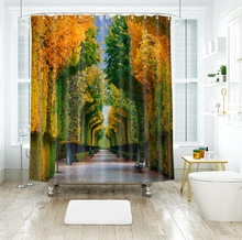 3d Greenwood Road and Wheat Field Pattern Shower Curtains Waterproof Thickened Bath for Bathroom Customizable