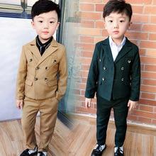 Flower Boys Wedding Suits Sets Kids School Party Piano Performance Costume Children Plaid Blazer Vest Pants 2Pcs Outfits