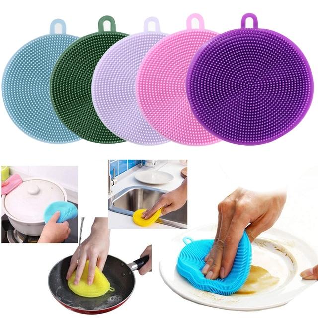 5PCS Silicone Kitchen Cleaning Brush Dishwasher Sponges Dish Washing Sponge Magic Scrubber Household Brushes Kitchen Accessory 1