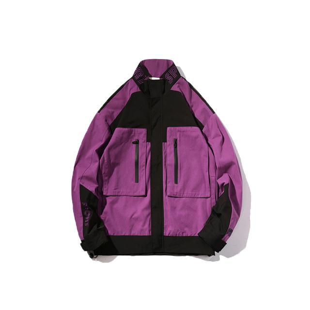Streetwear Men Jacket Coat Mandarin Collar Spring Autumn Hip Hop Jackets Windbreaker Retro Block Track Jacket Mens High Fashion