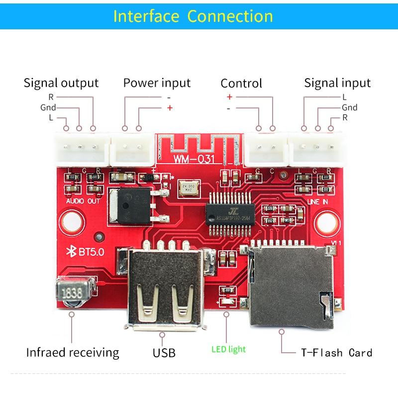Image 4 - UNISIAN Bluetooth 5.0 decoder Board USB u disk tf card Aux Signal input Support MP3  WMA WAV FLAC APE remote control DAC DecoderDigital-to-Analog Converter   -