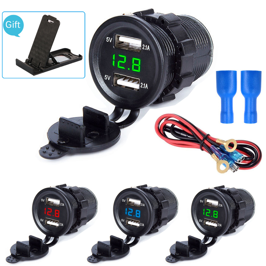 4 2A LED Display Dual USB Car Charger  Waterproof Universal Motorcycle Car Truck VAN Boat Adapter Socket For phone Tablet GPS