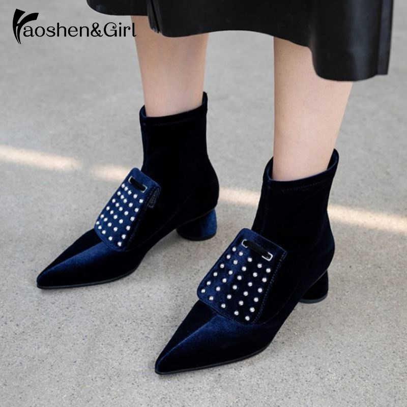 Haoshen & Girl/обувь из флока/лакированной кожи женские ботильоны в стиле ретро обувь на высоком каблуке с острым носком пикантные осенне-зимние ботинки на молнии