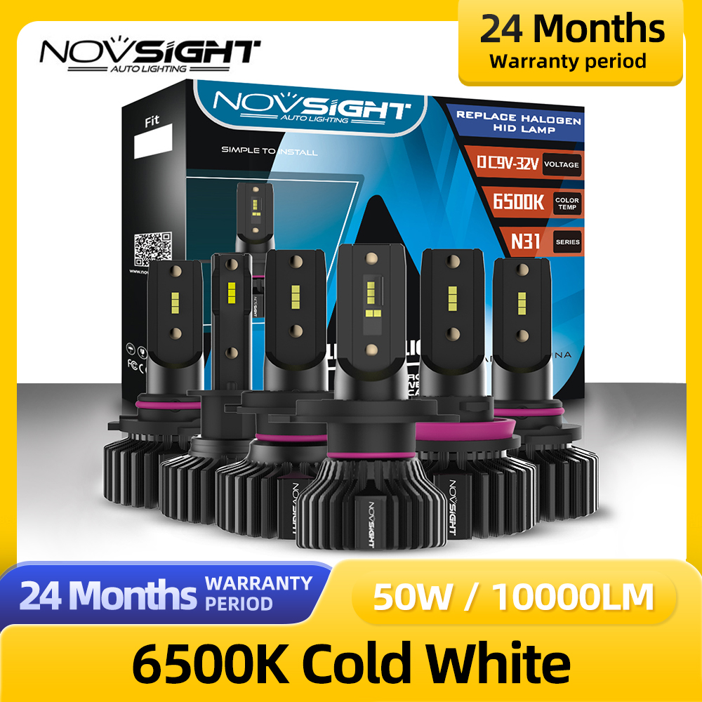Novsight автомобильные лампы H7 H4 H1 H11 9005 9006 Hb3 Hb4 светодиодные фары 10000LM 50 Вт 6500 к авто фары Противотуманные фары для ламп, который можно собрать са...
