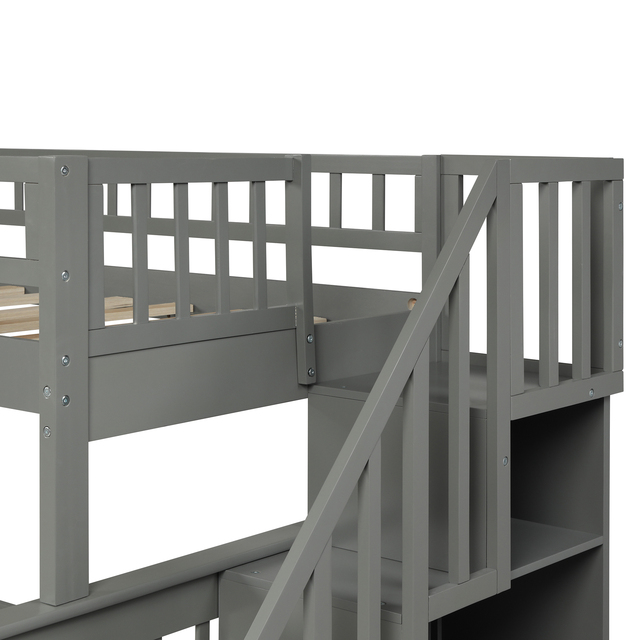 Twin Over Full Kids Bunk Beds with Slide Shelves  5