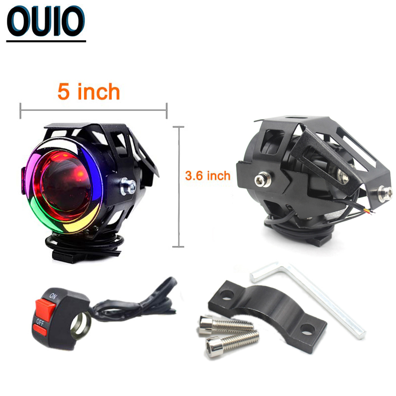 125W Motorcycle Angel Eyes 5inch U7 LED Headlight DRL Spot Head Lamp Front Lights Bulb Bicycle Motorbike Car Worklight Fog Light in Light Bar Work Light from Automobiles Motorcycles