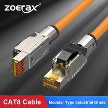 ZoeRax Cat8 Ethernet Patch Kabel S/FTP 22AWG Doppel Shielded Feste Kabel   2000Mhz 2Ghz 40Gbps   5th-Gen Ethernet LAN Netzwerk