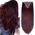 Большой объем 360 г 99j винно-красный зажим для наращивания волос человеческие волосы машинная работа Реми настоящие натуральные волосы на за...