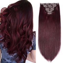 Hair-Extensions Human-Hair-Machine Natural DHL Clip-In Real 99j Red by Volume-360g Wine