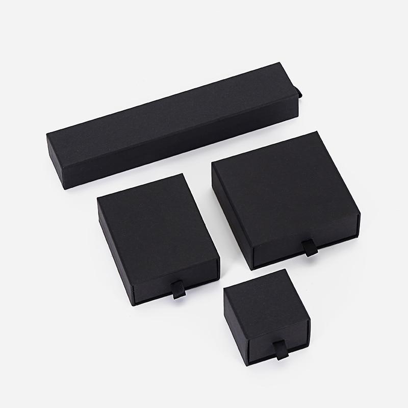Custom Packaging  Box Ring Necklace 100pcs Custom Logo Black Pull-out Bracelet Paper Box Jewelry Display Wholesale Lots Bulk