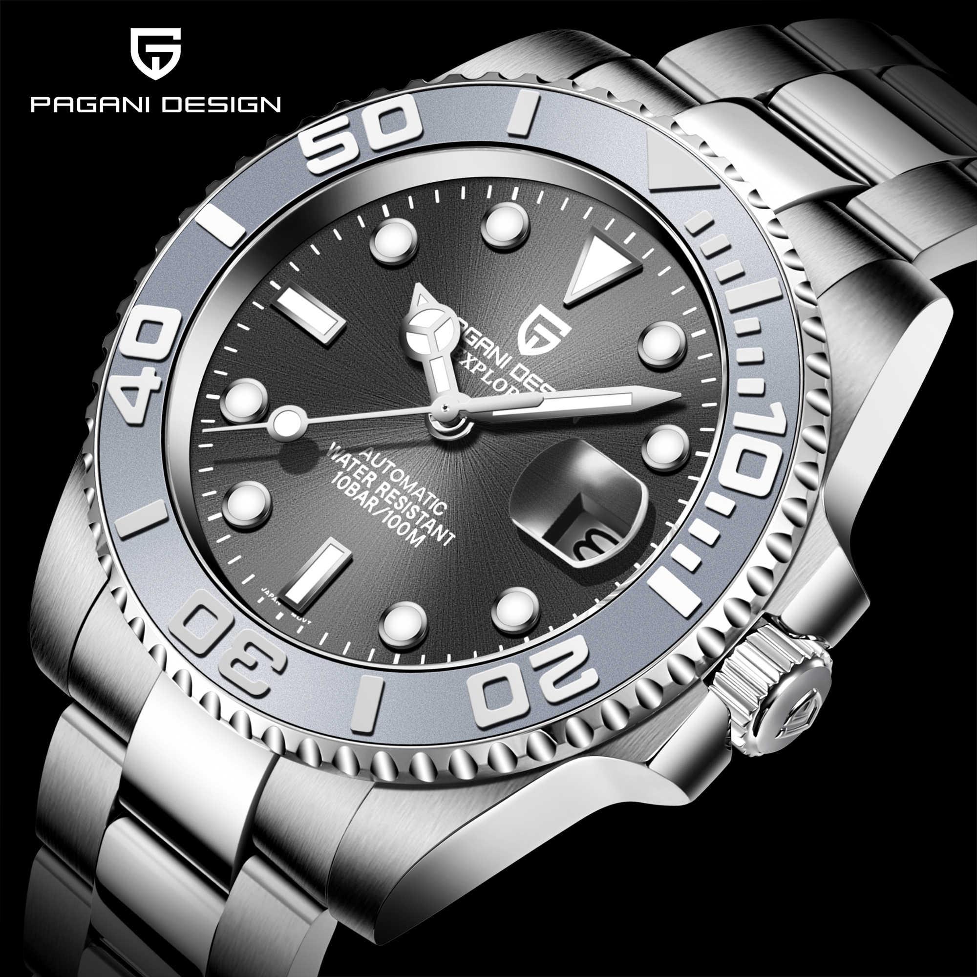 パガーニデザインのメンズ腕時計自動サファイア高級機械式腕時計ステンレス鋼防水時計男性mekaniska klockor