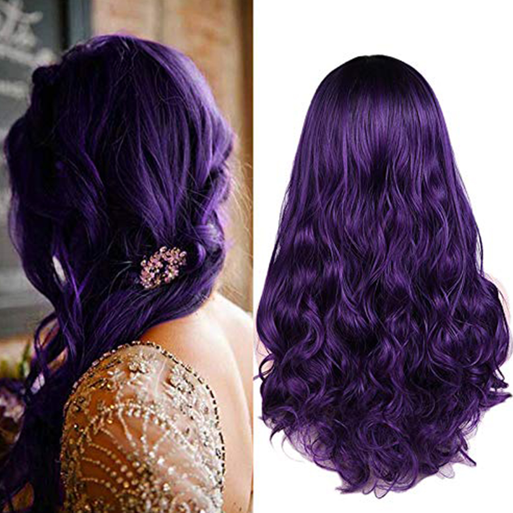 FAVE Long Wavy Black Purple Dark Root Heat Resistant Fiber Synthetic Wig For Black/White Women's Cosplay Or Party Hair Wig