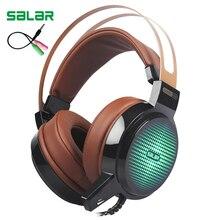 Salar C13 Gaming grand casque bandeau filaire avec micro/lumière LED sur loreille stéréo basse profonde pour ordinateur Gamer casque