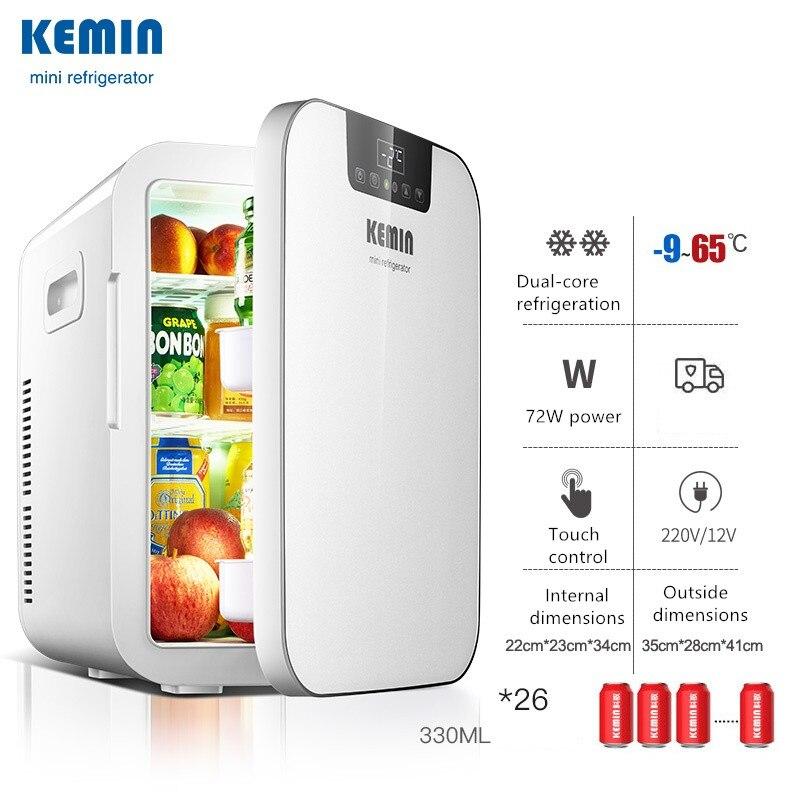 CNC De Doble N/úcleo KeMin 18L Mini Refrigerador Port/átil Refrigerador De Bebidas White Dual Core CNC Version para El Hogar O El Coche Compacto Compatibilidad AC DC Power Baja Energia