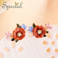 Special European and American ear nails female S925 silver needle cherry pollen flowers fresh ornaments girls