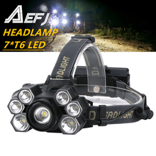 AEFJ lampe frontale Super brillante à 7 Led ZOOM, étanche, éclairage Flash à 7000 têtes, éclairage pour la pêche, camping ou randonnée, 18650 lumens, XML T6