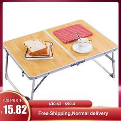 Katlanabilir dizüstü bilgisayar masası bacak bambu ahşap tahıl Lapdesk kahvaltı servis tepsisi taşınabilir piknik masası dizüstü standı okuma tutucu