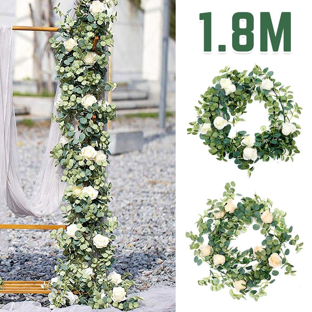 Свадебный Настенный декор из искусственного ротанга, 7 розовых шелковых листьев эвкалипта, зеленая цветочная гирлянда, декор из эвкалипта и...