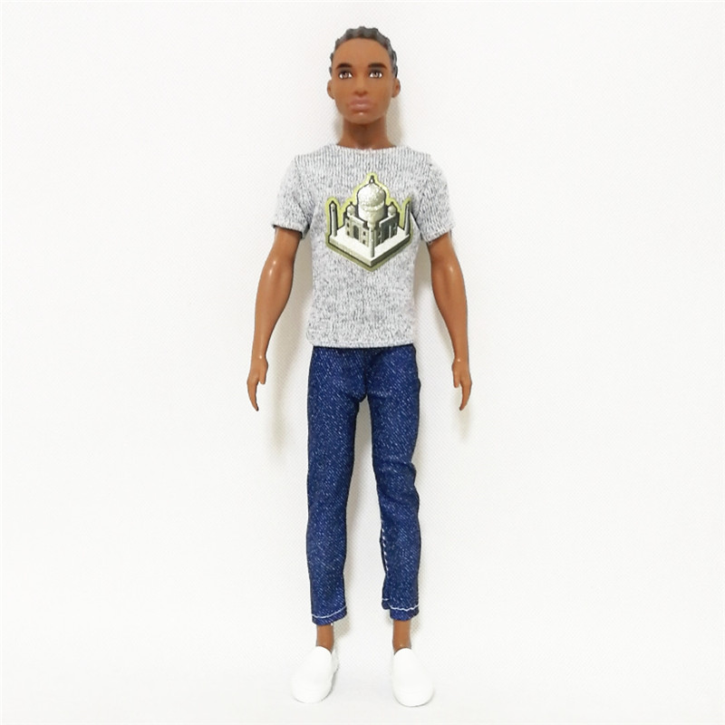 Ken The Boy Friend Gray Tee Blue Trousers Set ForBarbie Doll Clothes Accessories Play House Dressing Up Costume Kids Toys Gift