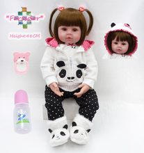 Forrsdor new 47cm soft cloth body lifelike newborn baby girl with panda clothes  best children's gift silicone reborn baby dolls new 22in 55cm soft cotton body lifelike newborn baby girl with golden hair stripe clothes adora silicone baby dolls reborn toys