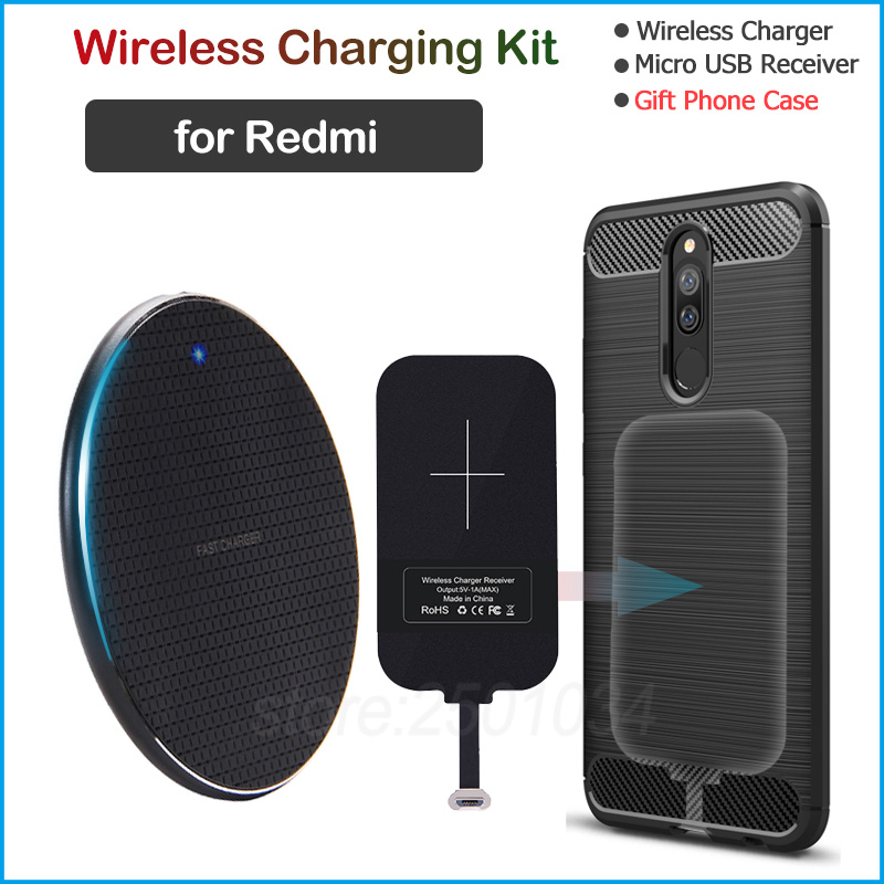 Wireless Charging for Xiaomi Redmi 5 6 7 5A 6A 7A Note 5 5A Pro Plus Qi Wireless Charger+Micro USB Receiver Gift TPU Case|Mobile Phone Chargers| |  - title=