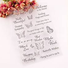 Butterfly Words Silicone Clear Seal Stamp DIY Scrapbooking Embossing Photo Album 57BB(China)