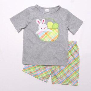 Image 2 - Paskalya tavşanı bebek giyim butik pamuk giyim nakış elbise erkek bebek giyim