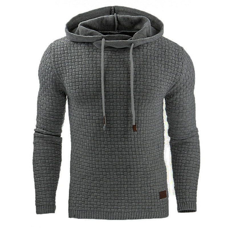 Autumn Casual Men's Hoodie Solid Long Sleeve Hooded Pullover Off White Rhombic Plaid Sweatshirts Slim Tracksuit Streetwear 5XL