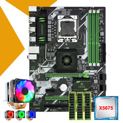HUANANZHI X58 deluxe motherboard bundle discount motherboard with CPU Intel Xeon X5675 6 heatpipes cooler memory 24G(3*8G) RECC