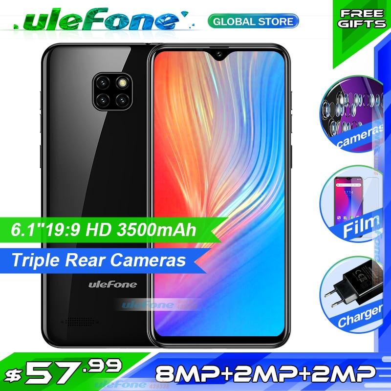 Ulefone Nota 7 Smartphone 6.1 de polegada MT6580A 16 1GB de RAM GB ROM Quad Core 3500mAh Face ID Três traseira Câmeras Android GO Telefone Celular