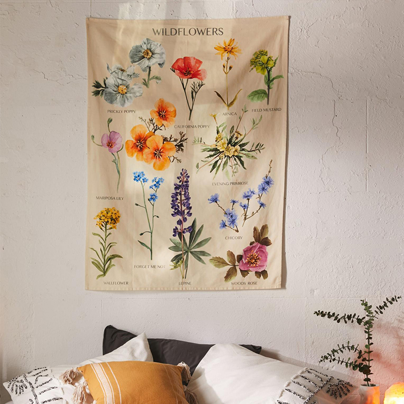 Botanical Wildflower Tapestry Wall Hanging Flower Reference Chart Hippie Bohemian Tapestries Colorful Psychedelic INS Home Decor 2
