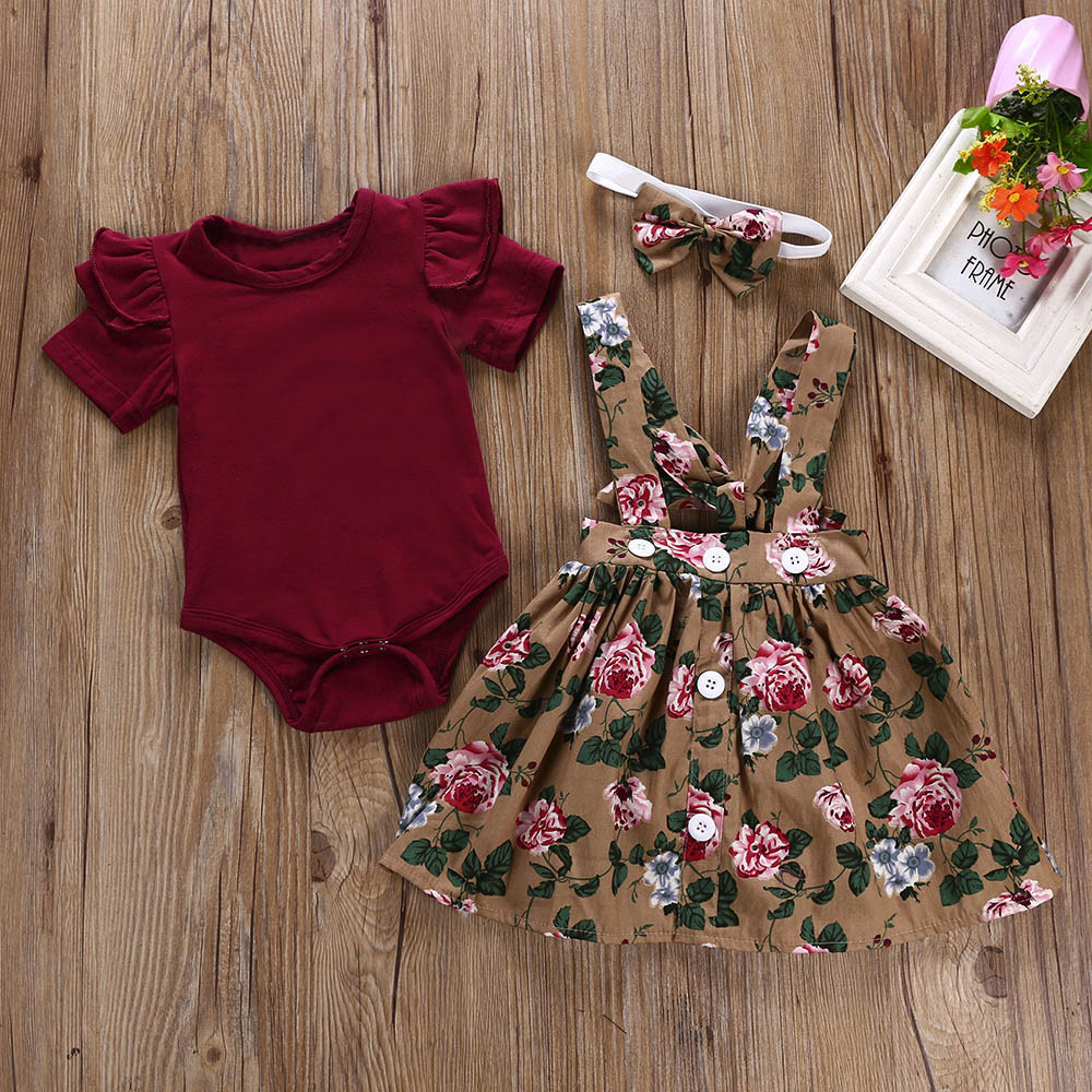 3PCS Infant Baby Girls Clothing Set 2019 Summer Flying Sleeves Romper+Suspender Skirt+Headband Newborn Baby Clothes Outfits