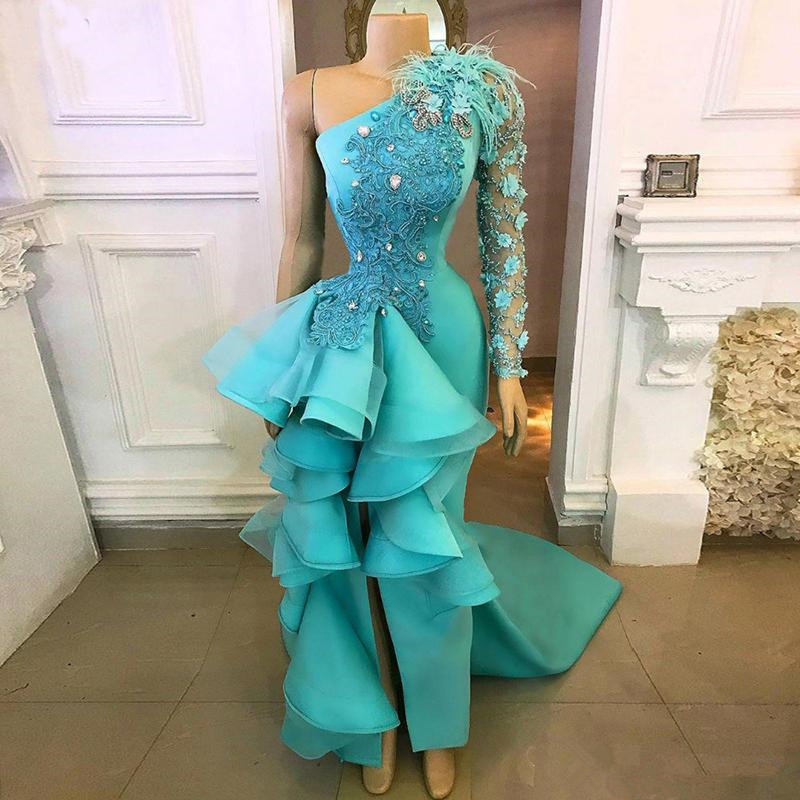 2019 Turquoise Mermaid   Prom     Dresses   One Shoulder High Slit Ruffles Chic Evening   Dress   Appliques Beaded Formal Party Gowns