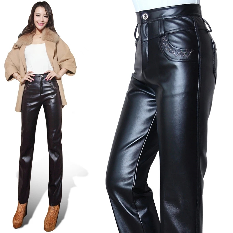 2019 women Winter warm faux leather   pants     capris   PU elastic high waist stretch Straight long   pants   women Belt section PU   pants