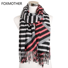 FOXMOTHER New Winter Multicolor Striped Cashmere Scarves Shawl Pashmina Warm Scarf Accesorios Mujer 2019