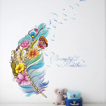 Flower butterfly feather Wall Sticker Home living room colorful background decoration Mural Art Decals bedroom stickers room decoration flower rattan butterfly pattern wall sticker