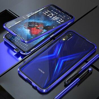 Перейти на Алиэкспресс и купить Жесткий чехол для Huawei Honor 9X, чехол с магнитной застежкой 360, металлический, двойной, закаленное стекло, задняя крышка для Honor 9X Premium, чехол