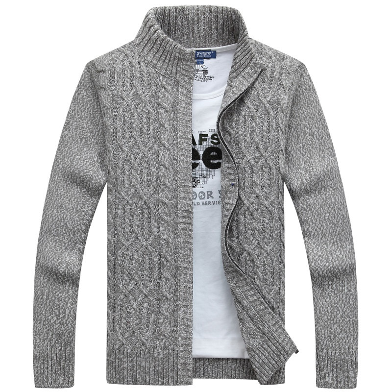 Mens Sweaters For 2019 Brand Man Sweater Casual Men Cardigan Thick Cashmere Sweater Outerwear Winter Gray Blue