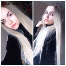 Long Straight Hair Middle Part  Synthetic Wig