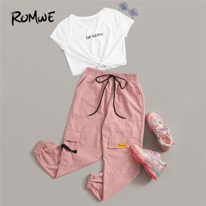 Romwe Sporty Letter Print Knot Front Tee and Cargo Pants 2 Piece Set Women Jogging Activewear Casual White Tee Matching Set-in Running Sets from Sports & Entertainment on AliExpress