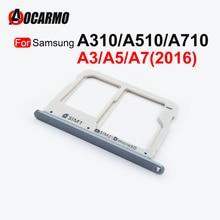 Aocarmo Dual SIM Micro SD Card Tray Slot Reader Holder For Samsung Galaxy A3 A5 A7 2016  A310 A510 A710 Replacement Part