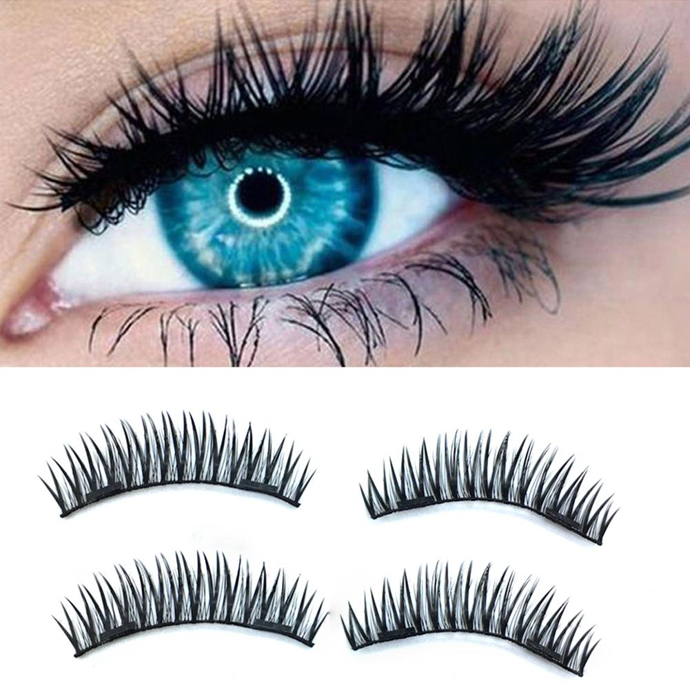 4pcs/<font><b>pair</b></font> Magnetic <font><b>Eyelashes</b></font> 3D magnet lashes Soft Natural Long Hair Magnet <font><b>Eyelash</b></font> on the Magnet False Eye Lash reusable 40P-w image