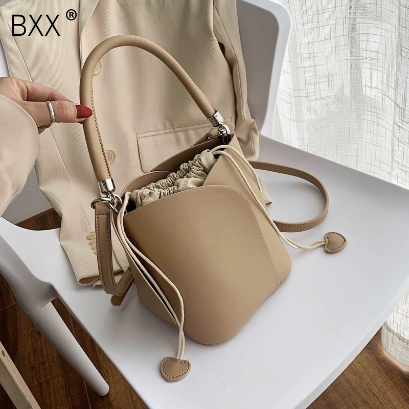 [BXX] PU Leather Solid Color Bucket Bags For Women 2020 Shoulder Messenger Handbags Summer New Luxury Cross Body Bag HL889