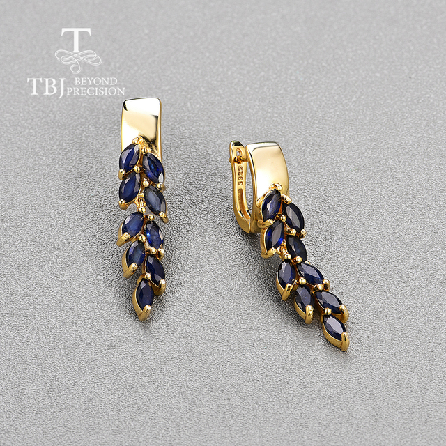 Sapphire Clasp Earrings 925 Sterling Silver 3