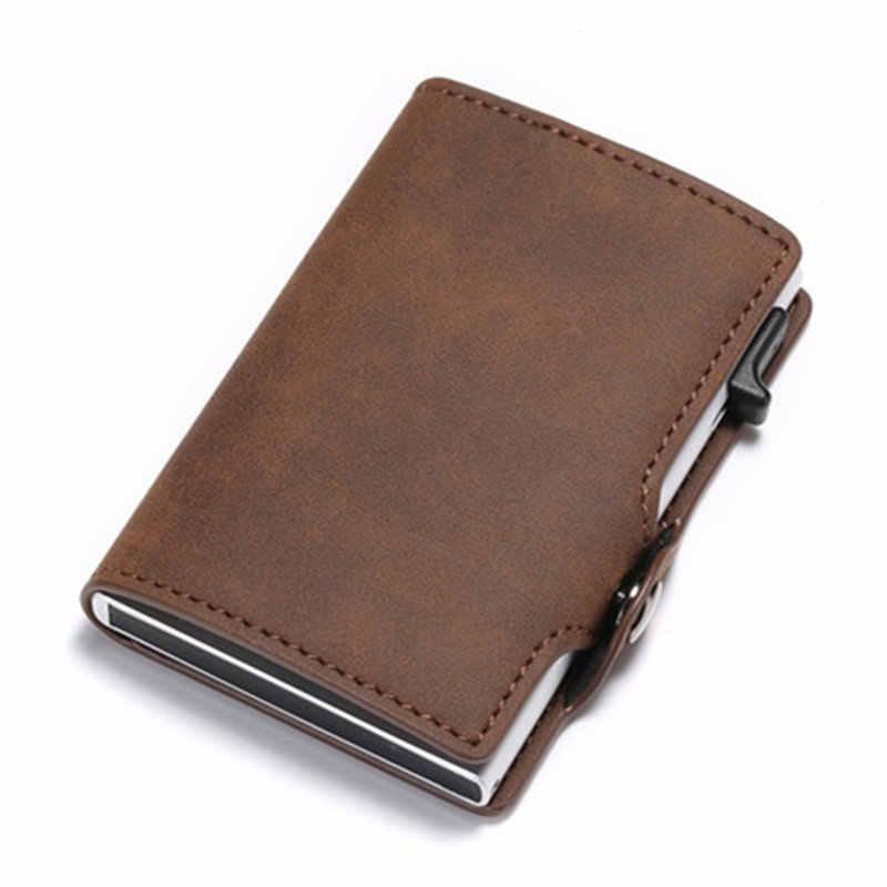 Bisi goro carteira masculina de couro, carteira masculina feita em couro sintético de poliuretano, com compartimento para cartões, bloqueio rfid, multifuncional, estilo slim capa com estojo