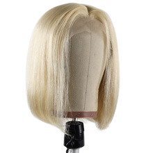 Wig Blonde BHF Human-Hair Women Lace Short Bob Part Straight 613 for Remy Brazilian 100%Natural