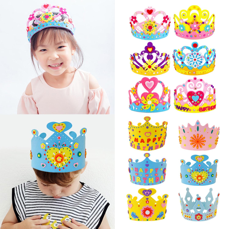 Handmade Crown Kit DIY Birthday Tiaras Hat Material Set Crafts Toys For Kids Children Boy Girl Toddlers Random Style