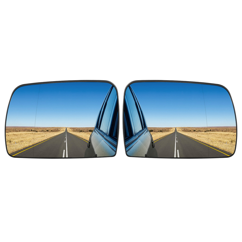 2X Blue Wide Angle Sight Rearview Heated Mirror Glass For BMW X5 E53 2000-2006