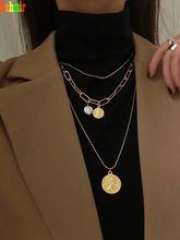 Kshmir модное многослойное ожерелье из метала золотого цвета