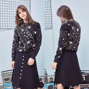 Image 5 - רטרו Galaxy כוכב דפוס סוודר נשים בציר ארוך שרוול מגשרי 2020 סתיו חורף גבירותיי אקארד סוודרים סוודרי C 285